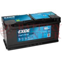 Μπαταρία Exide EK1050 Start Stop AGM Carbon Boost Techonology 12V Capacity 20hr  105(Ah):EN (Amps): 950EN Εκκίνησης