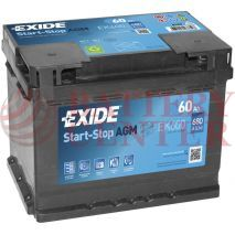 Μπαταρία Exide EK600 Start Stop AGM Carbon Boost Techonology 12V Capacity 20hr  60(Ah):EN (Amps): 680EN Εκκίνησης