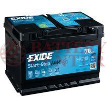 Μπαταρία Exide EK700 Start Stop AGM Carbon Boost Techonology 12V Capacity 20hr  70(Ah):EN (Amps): 760EN Εκκίνησης