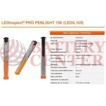 OSRAM LEDIL105 Φακός Εργασίας Επαναφορτιζόμενος Penlight 150 LedInspect Pro 6.000K