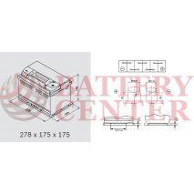 Μπαταρία Exide Excell EB712 12V Capacity 20hr  71(Ah):EN (Amps): 670EN Εκκίνησης
