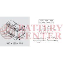 Μπαταρία Exide Excell EB800 12V Capacity 20hr  80(Ah):EN (Amps): 640EN Εκκίνησης