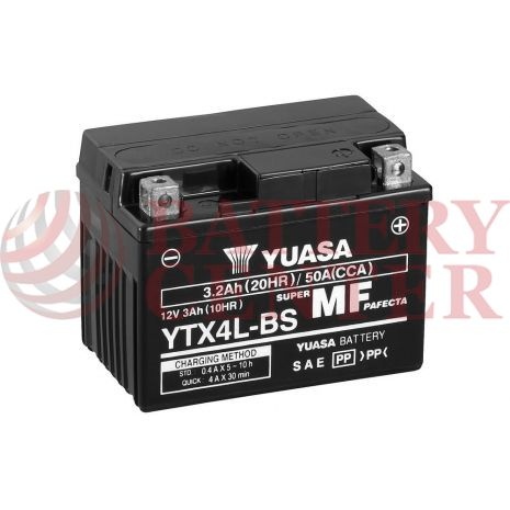 Μπαταρία Yuasa YTX4L-BS 12V MF Battery Capacity 20hr 3.2 (Ah):EN1 (Amps): 50CCA