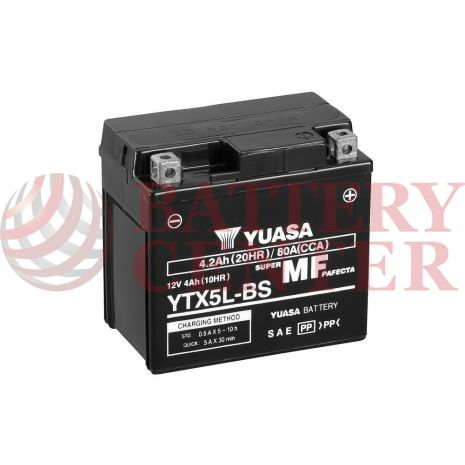 Μπαταρία Yuasa YTX5L-BS 12V MF Battery Capacity 20hr 4.2 (Ah):EN1 (Amps): 80CCA
