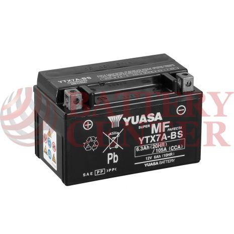 Μπαταρία Yuasa YTX7A-BS 12V MF Battery Capacity 20hr 6.3 (Ah):  EN1 (Amps): 105CCA
