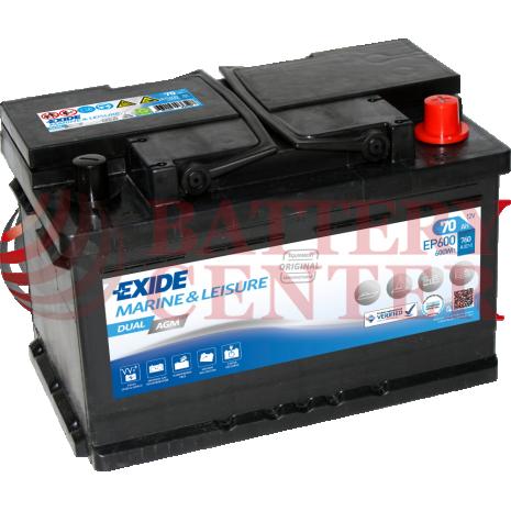 Μπαταρία Exide EP600 Marine & Multifit  Dual AGM 12V Capacity 20hr  70(Ah):EN (Amps): 760EN A Εκκίνησης