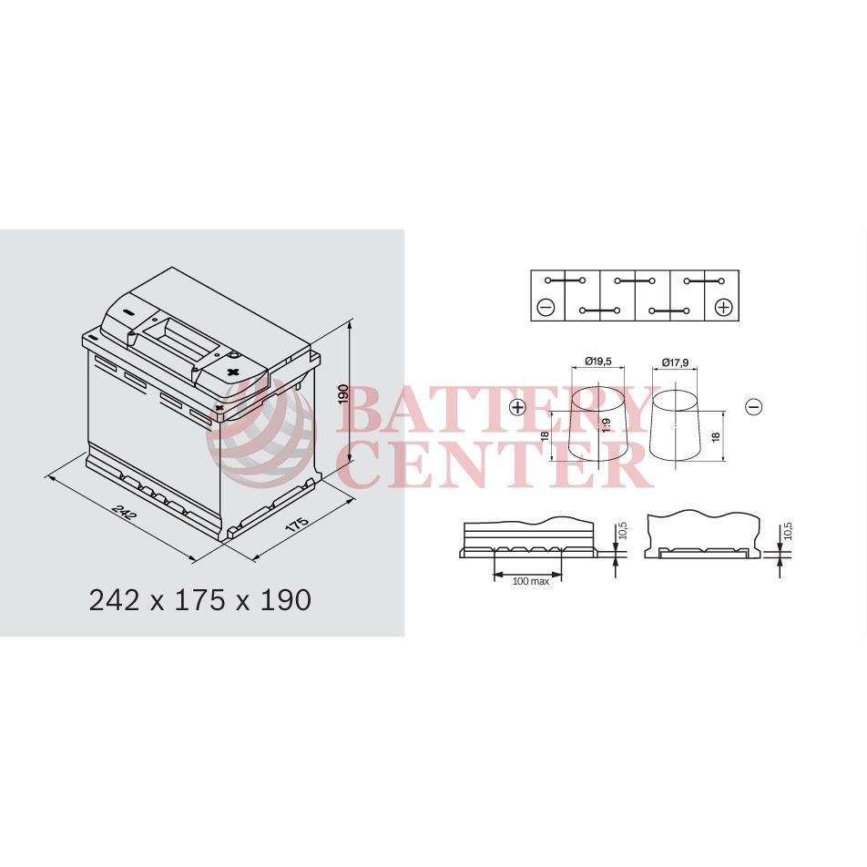 bosch s4005 12v capacity 20hr 60 ah en amps 540en. Black Bedroom Furniture Sets. Home Design Ideas